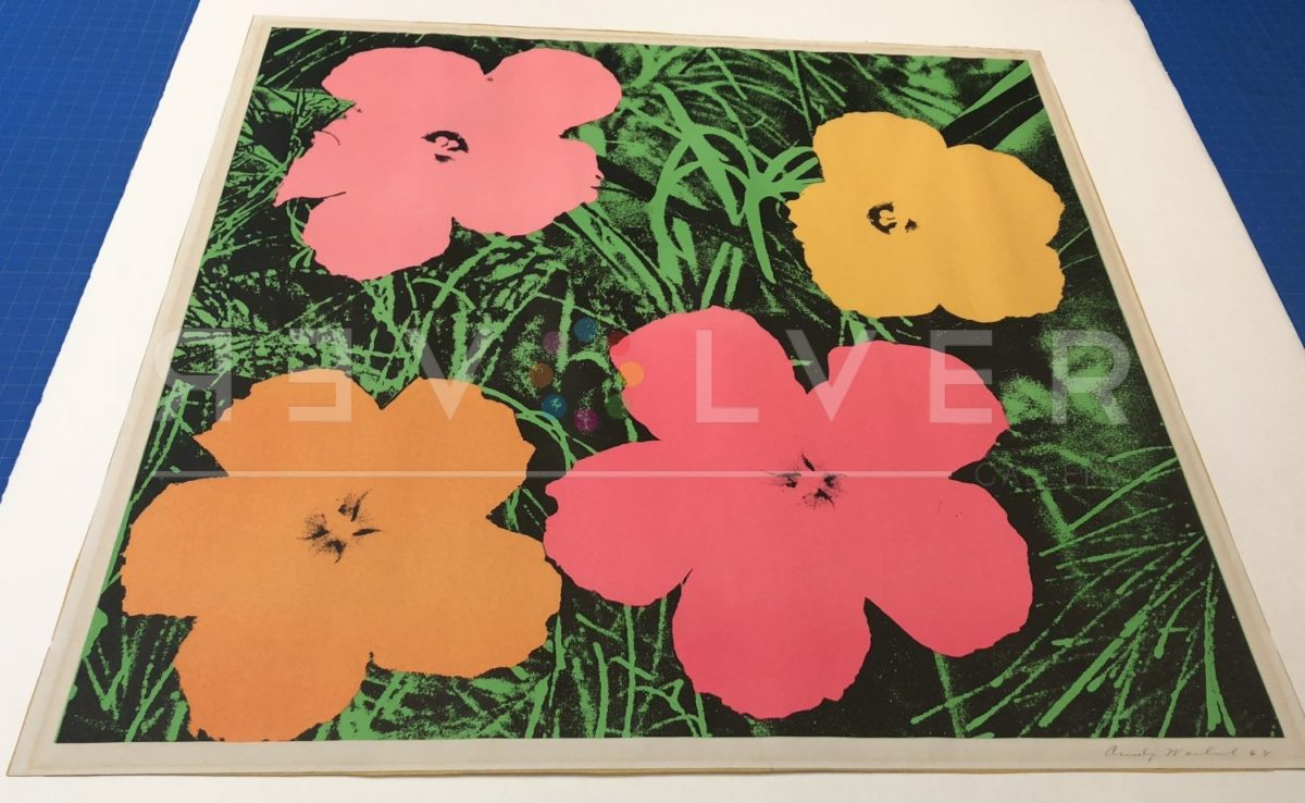 Andy Warhol Flowers 6 screenprint out of frame with Revolver Gallery watermark.