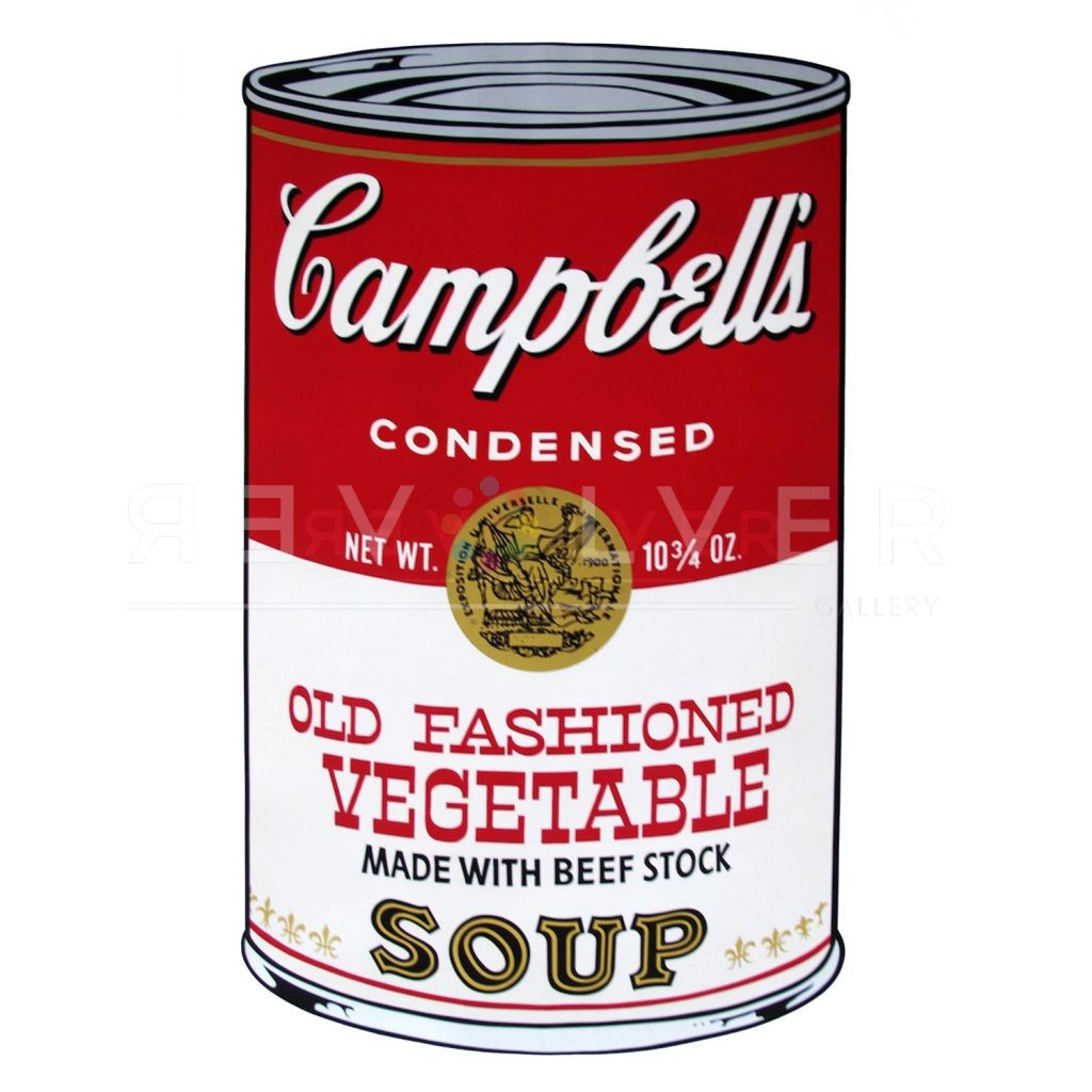 One of Ten Campbell's Soup Cans by Andy Warhol from 1969. Red and white can labeled Old Fashioned Vegetable with the golden Campbell's seal.
