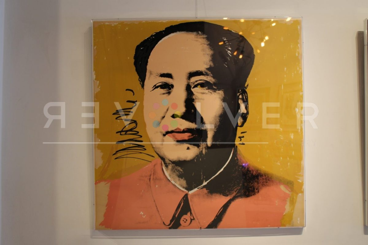 Andy Warhol Mao 97 screenprint framed and hanging on the gallery wall.