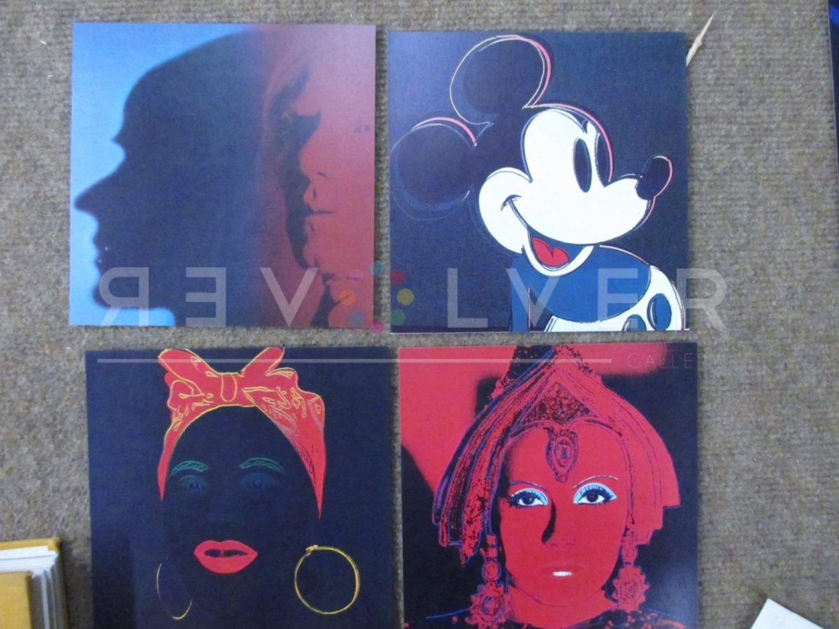 Four prints from Warhol's Myths series, out of frame, including The Star, Mickey Mouse, The Shadow, and Mammy.