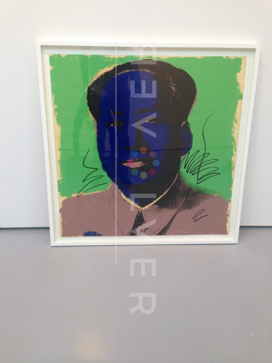 Andy Warhol Mao 90 screenprint framed and sitting against the wall.