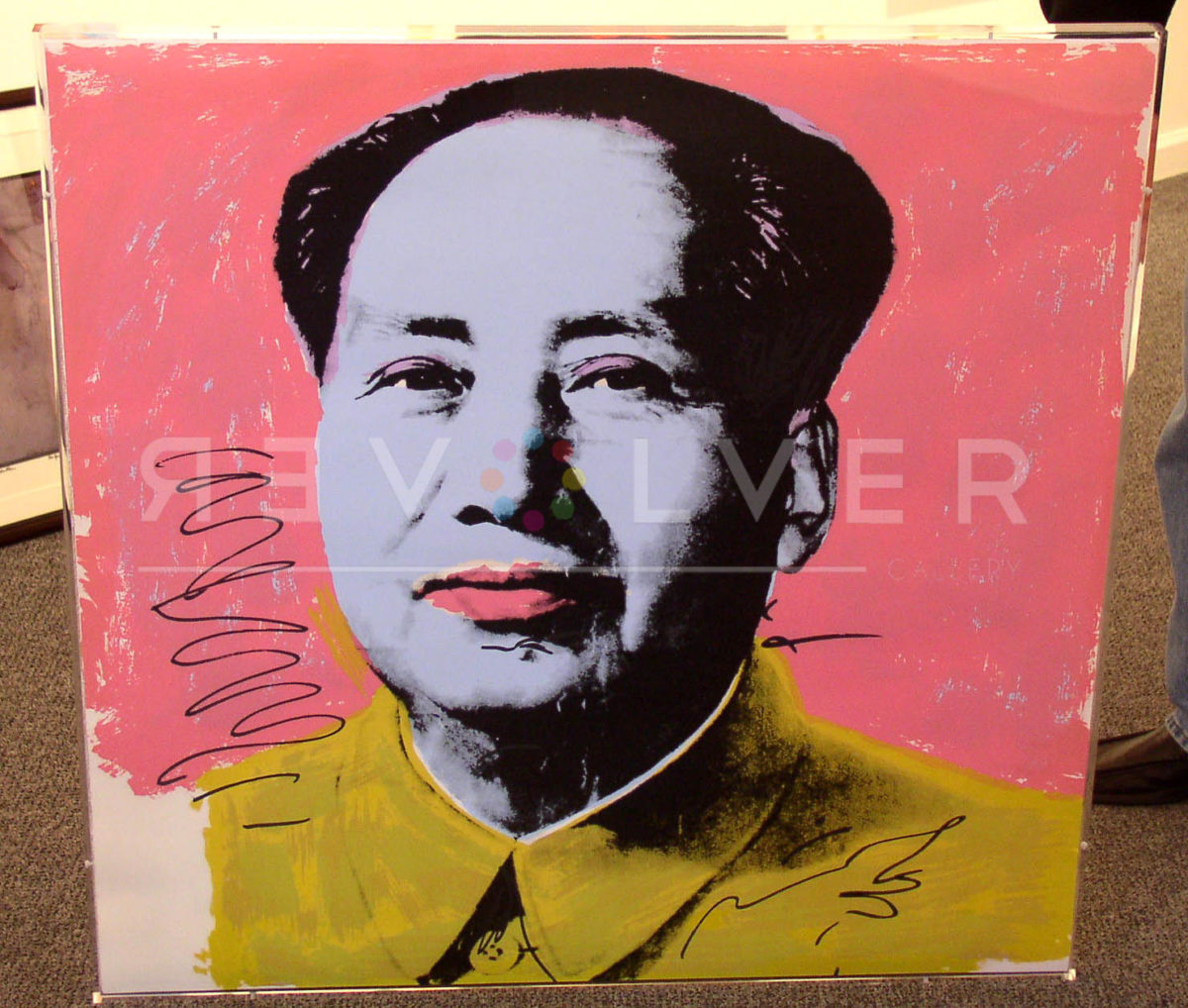 Mao pink, yellow, blue, by Andy Warhol, in frame.