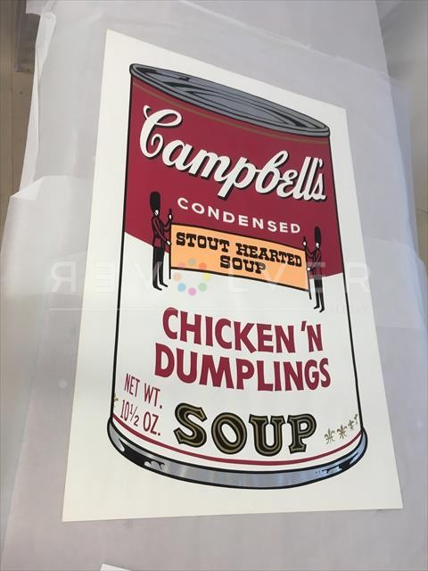 Campbell's Soup II: Chicken 'N Dumplings 58 screenprint by Andy Warhol out of frame.