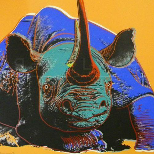 Andy Warhol Black Rhinoceros 301 screenprint with revolver watermark.