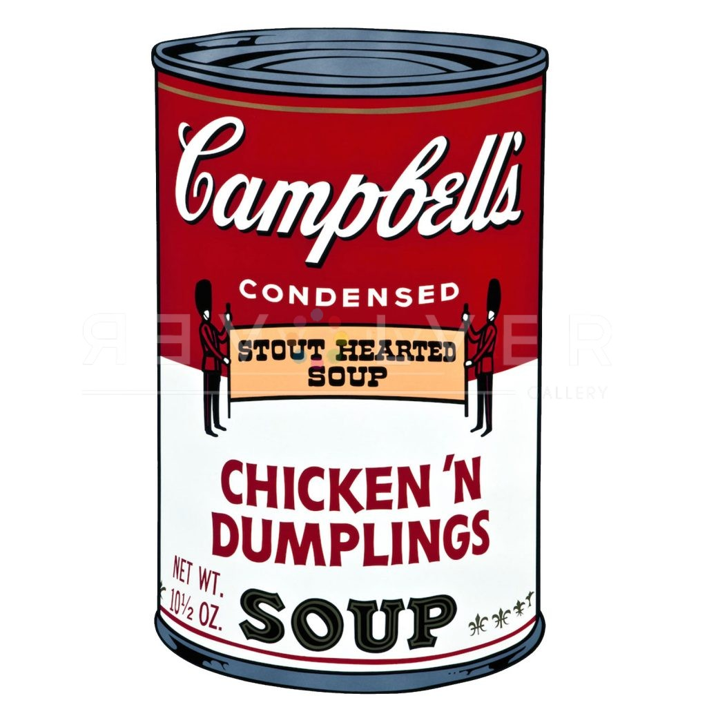"""Chicken 'N Dumplings Campbell's Soup Can by Andy Warhol from 1969. Red and white soup can with two british guards holding a banner saying """"stour hearted soup."""""""