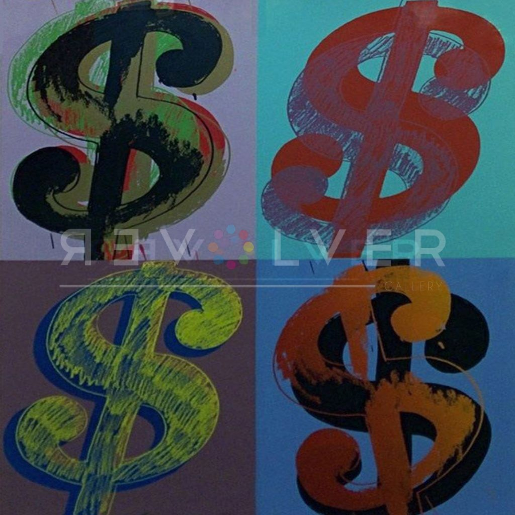 Picture of Andy Warhol Dollar Sign (Quadrant) 283; 4 sketched dollar signed in different hues.