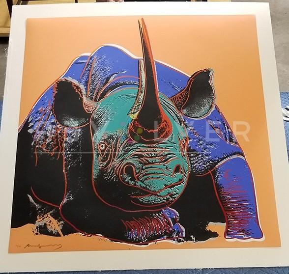 Andy Warhol Black Rhinoceros 301 screenprint out of frame.
