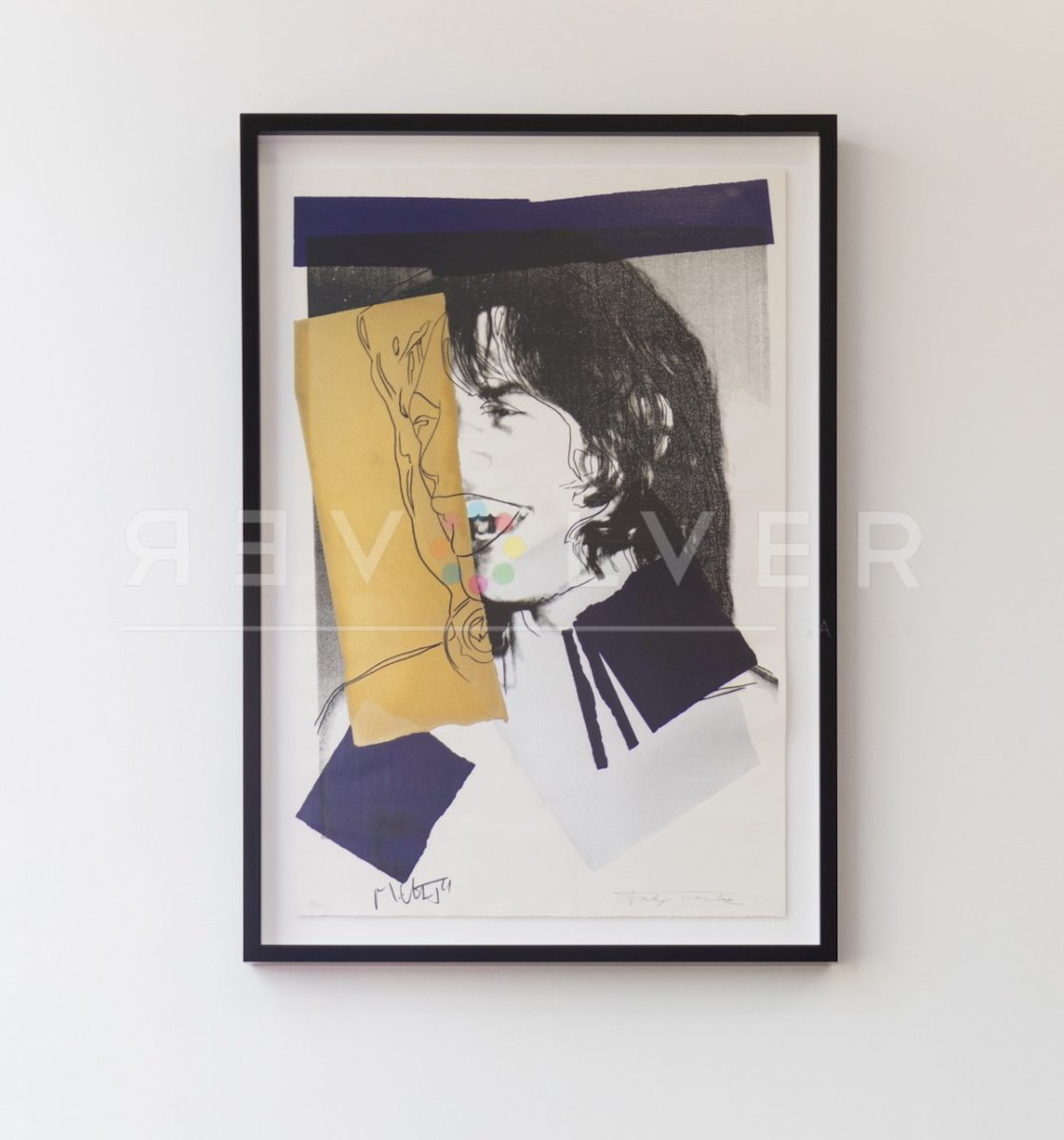 Mick Jagger 142 screenprint framed and hanging on a white wall.