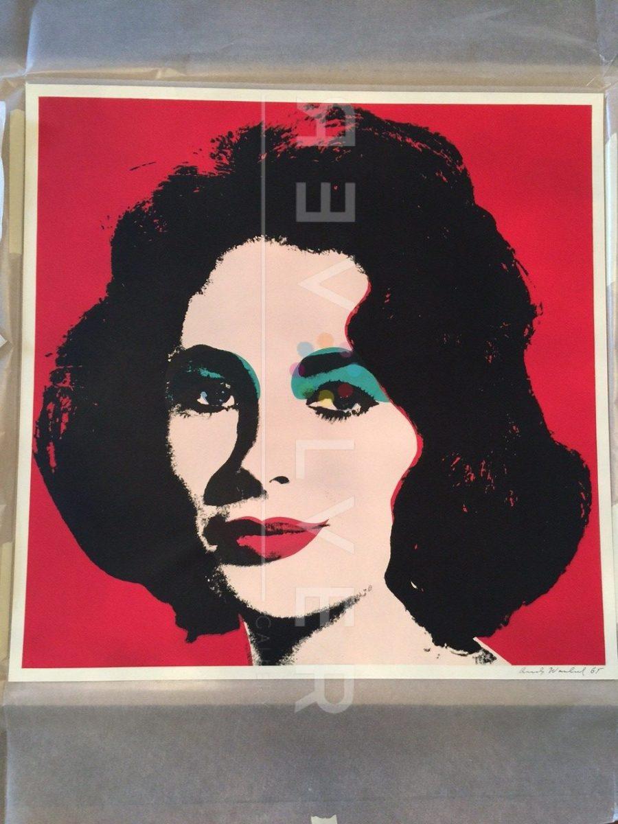 Andy Warhol Liz Taylor 7 screenprint out of frame.