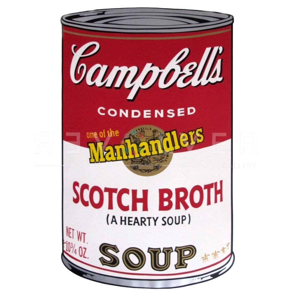 """One of Ten Campbell's Soup Cans by Andy Warhol from 1969. Red and white can labeled Scotch Broth (a Hearty Soup) with Campbell's golden seal and the word """"Manhandlers"""" across the middle."""