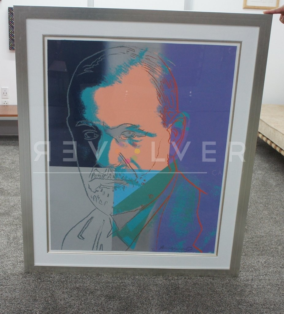 Andy Warhol Sigmund Freud 235 screenprint being held up right from the ground.