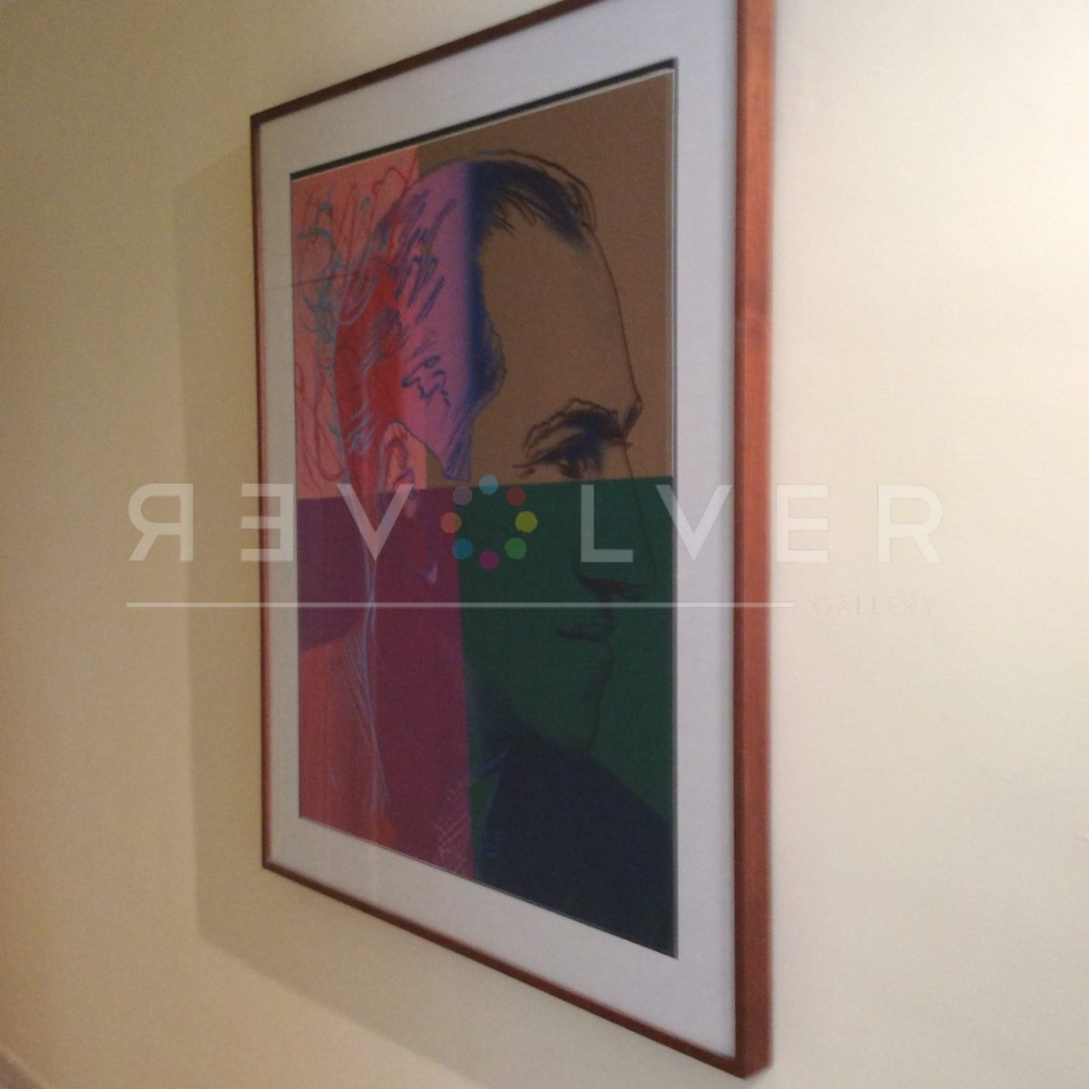 Andy Warhol George Gershwin 231 screenprint in frame and hanging on the wall.