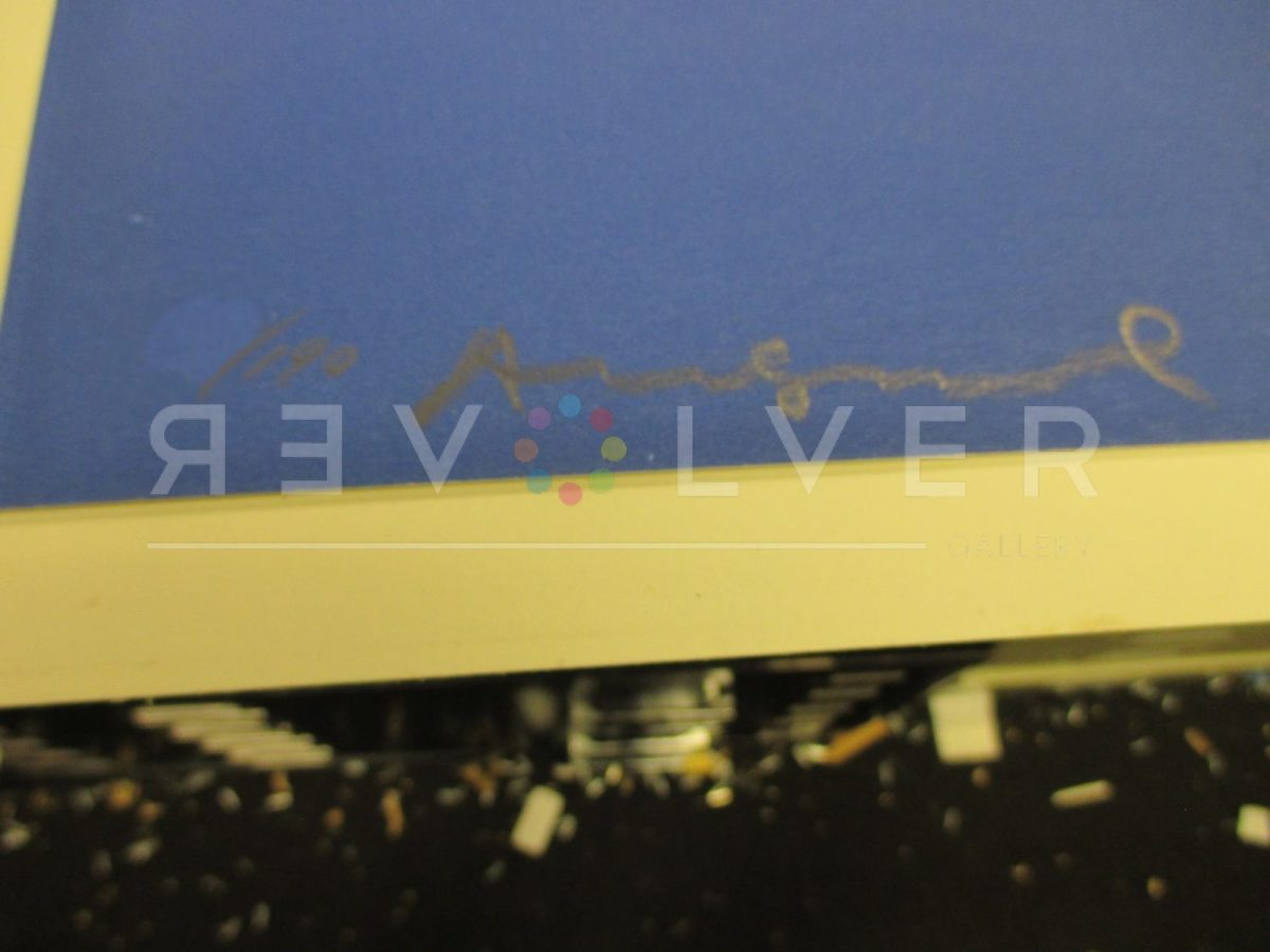 Warhol's signature on the bottom of the Mobil 350 screenprint.