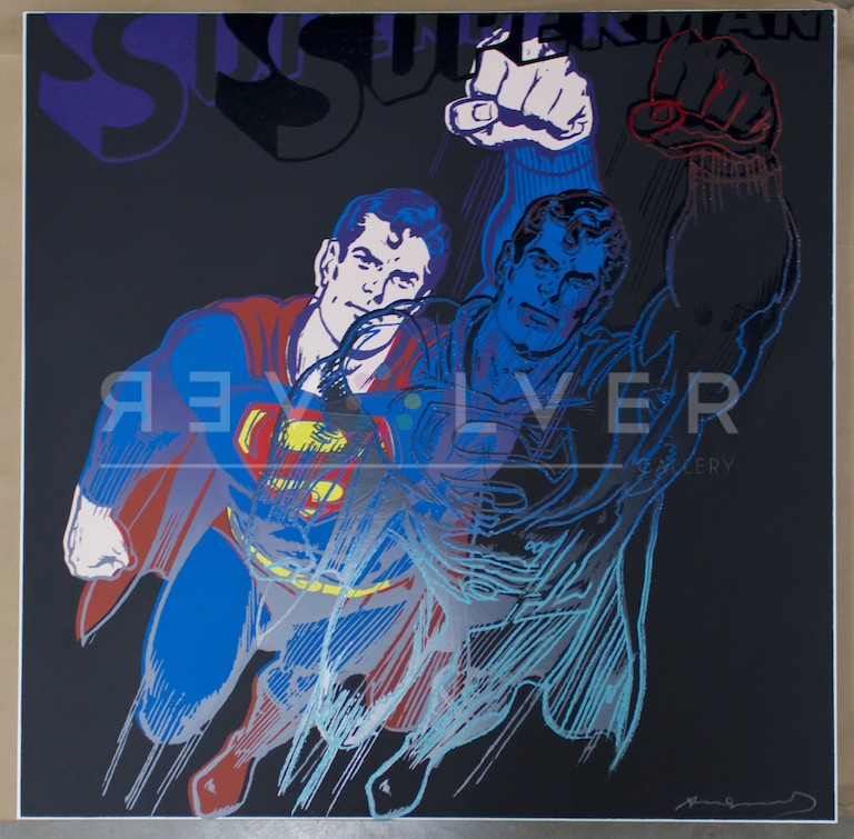 Andy Warhol Superman 260 screenprint out of frame.