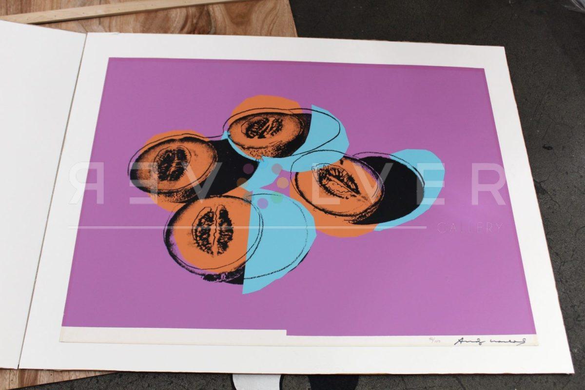 Andy Warhol Space Fruit: Cantaloupes II 198 screenprint out of frame.