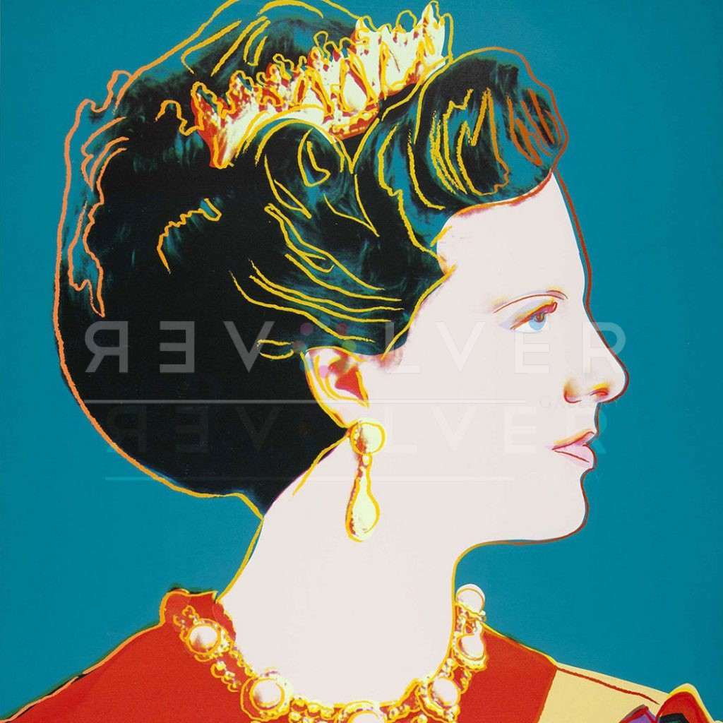 Andy Warhol Queen Margrethe II 343 screenprint. Cropped as a square image with Revolver gallery watermark.