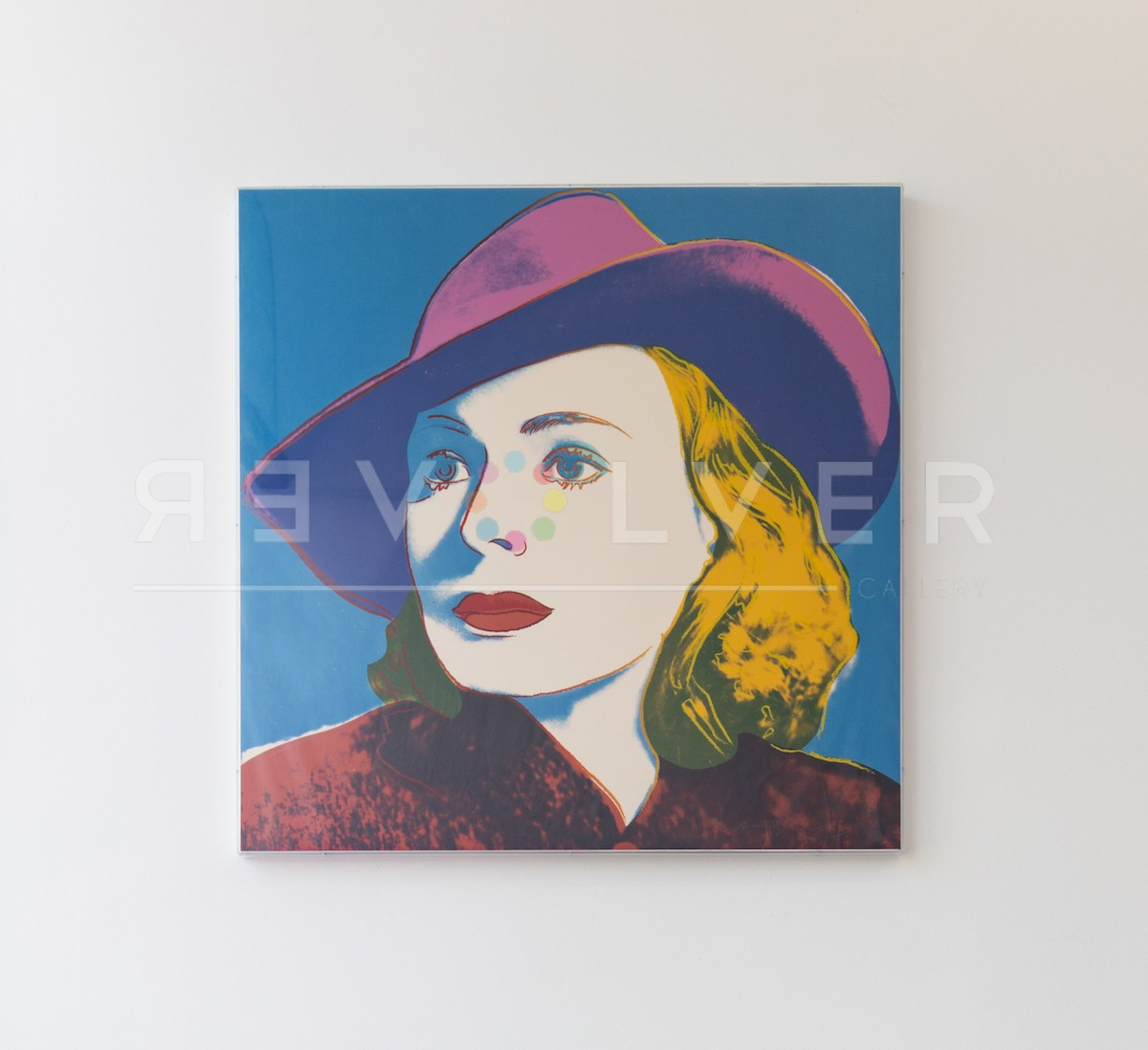 Andy Warhol Ingrid Bergman 315 screenprint framed and hanging on the wall.