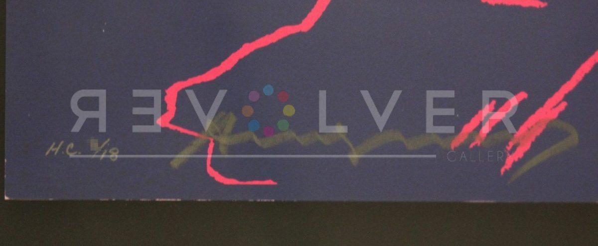 Andy Warhol's signature at the bottom of the Kiku 307 screenprint.