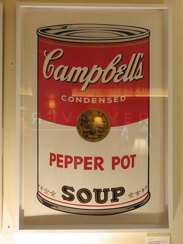 Andy Warhol's Pepper Pot 51 from the Campbell's Soup I complete portfolio framed and hanging on the wall.