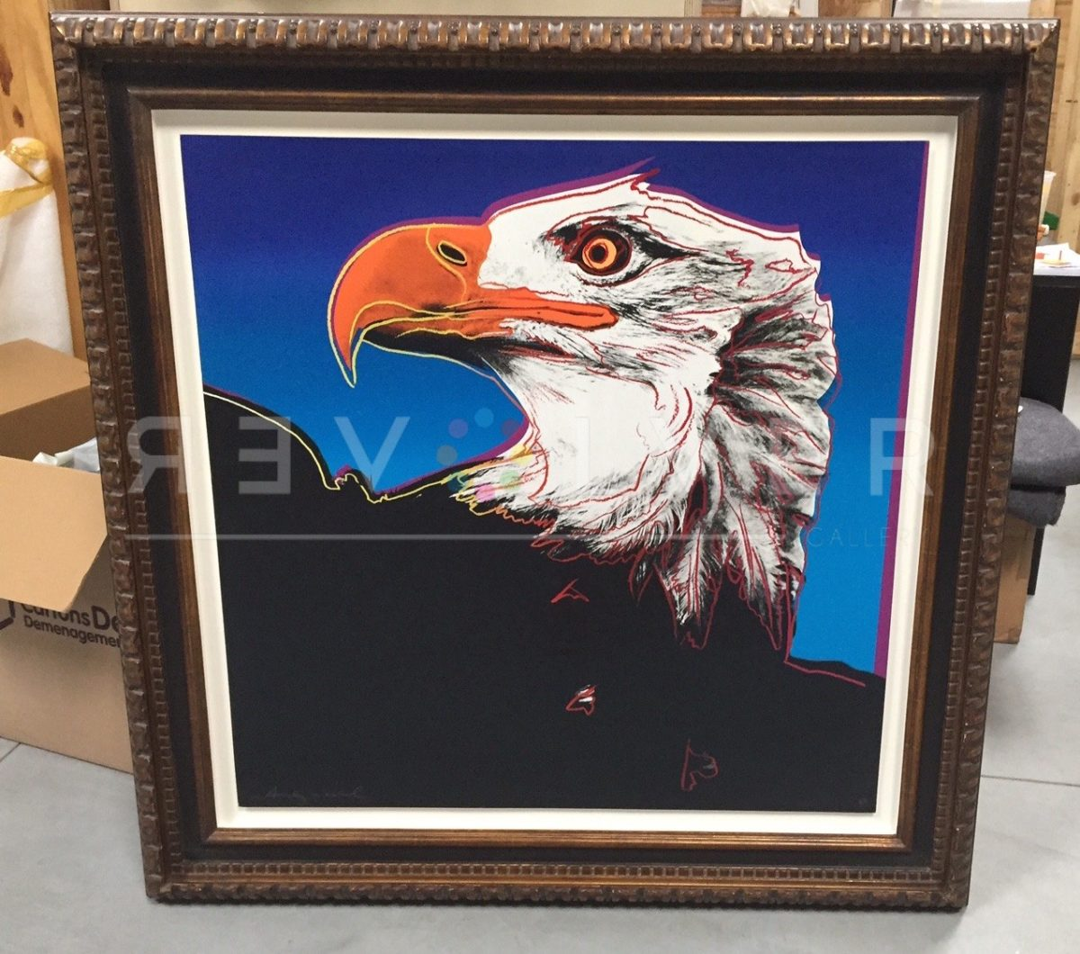 Andy Warhol Bald Eagle 296 screenprint in frame.