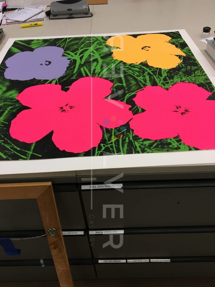 Andy Warhol Flowers 73 screenprint out of frame. Stock photo with Revolver watermark.