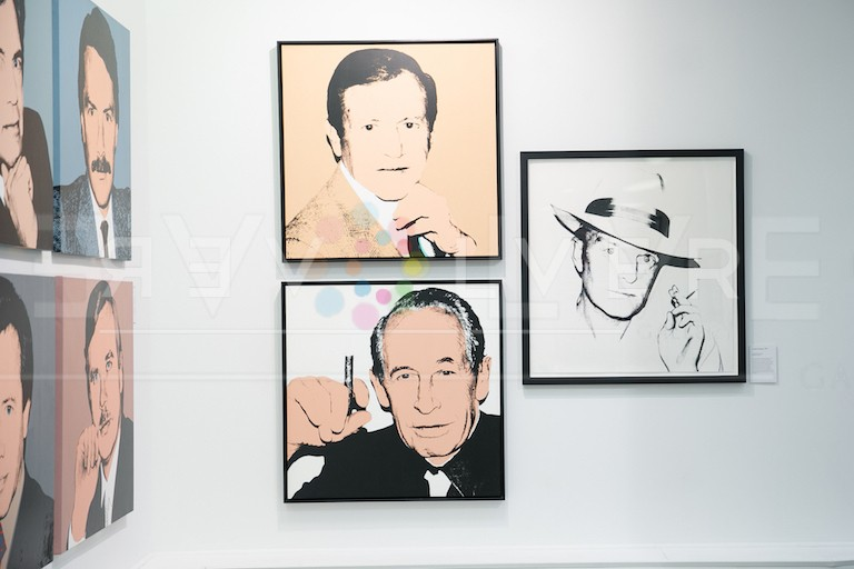 Philip Rosenthal screenprint by Andy Warhol framed and hanging next to Truman Capote screenprint.