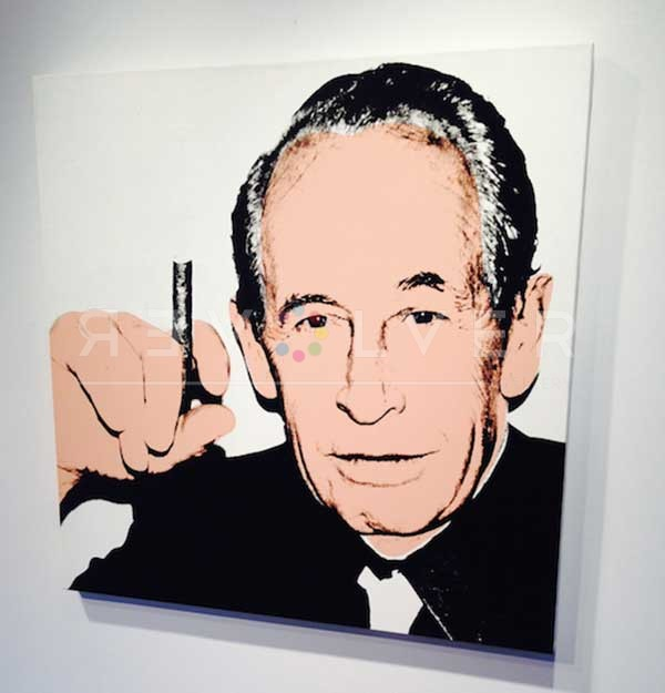 Philip Rosenthal screenprint portrait by Andy Warhol hanging on the gallery wall.