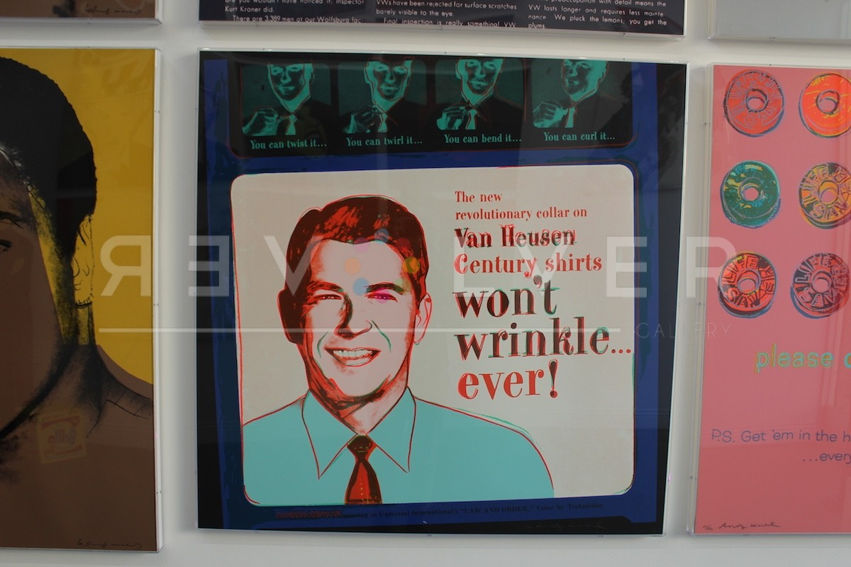 Andy Warhol Van Heusen 356 screenprint with Ronald Reagan framed and hanging on the wall