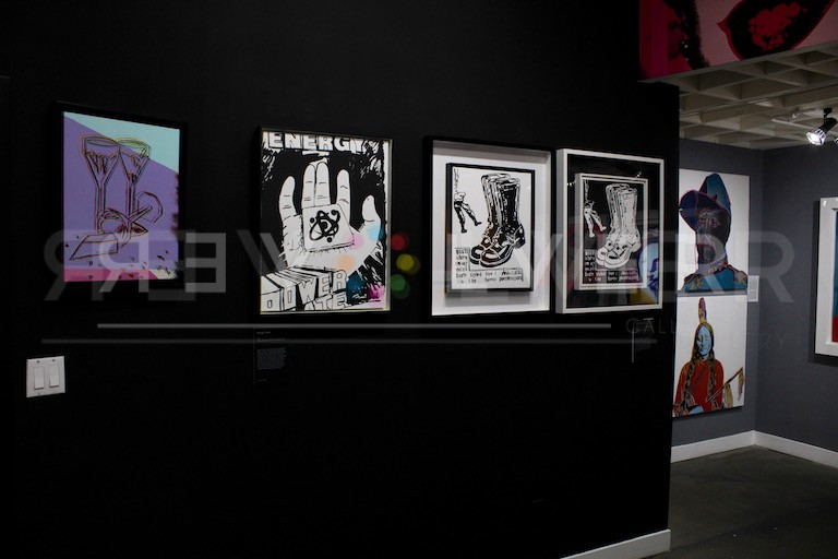 Installation of view of Andy Warhol Energy Power next to Paratrooper boots (Positive & Negative)