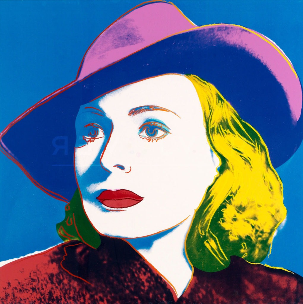 Andy Warhol Ingrid Bergman with Hat 315 screenprint stock photo. Featured image for the Ingrid Bergman with Hat page.