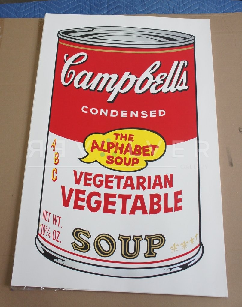 Andy Warhol Campbell's Soup II: Vegetarian Vegetable 56 screenprint out of frame.