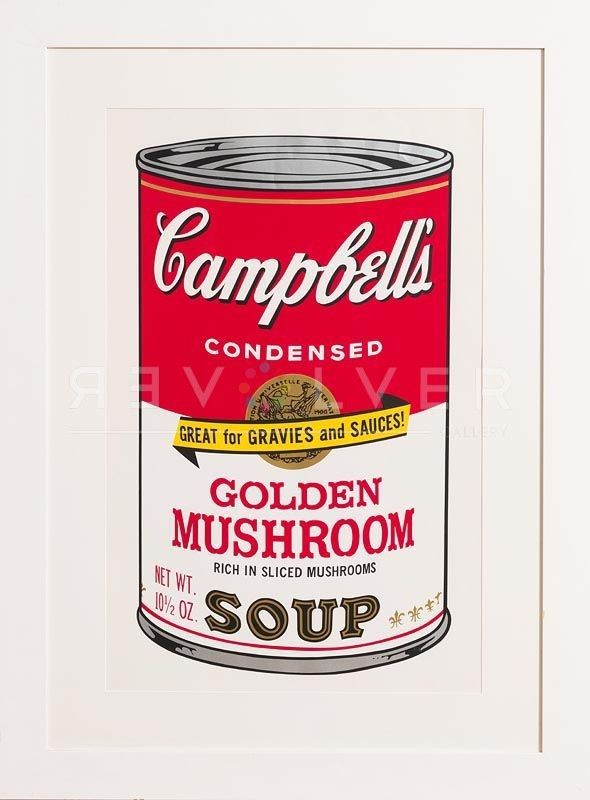 Campbell's Soup II: Golden Mushroom 62 screenprint by Andy Warhol in frame.