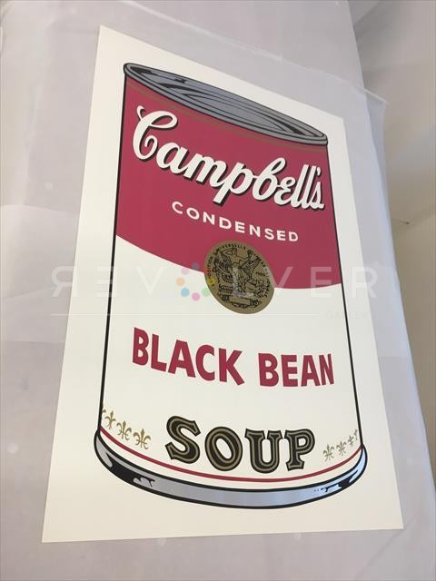 Andy Warhol Campbell's Soup I: Black Bean 44 screenprint full sheet out of frame.