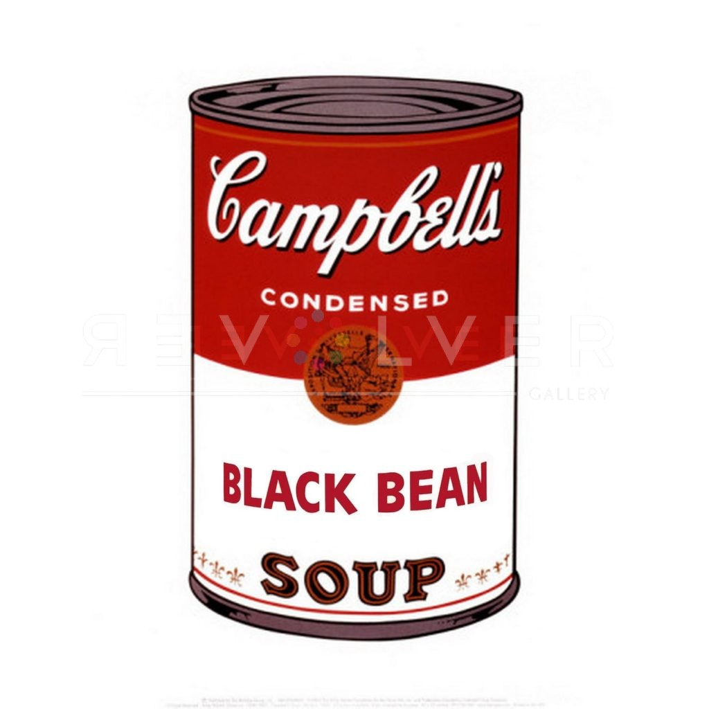 """One of Ten Campbell's Soup Cans by Andy Warhol from 1968. Red and white soup can labeled """"Black Bean."""""""