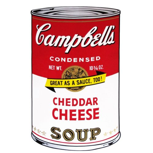 """One of Ten Campbell's Soup Cans by Andy Warhol from 1969. Red and white can labeled Cheddar Cheese with golden seal and a banner saying """"great as a sauce, too!"""""""