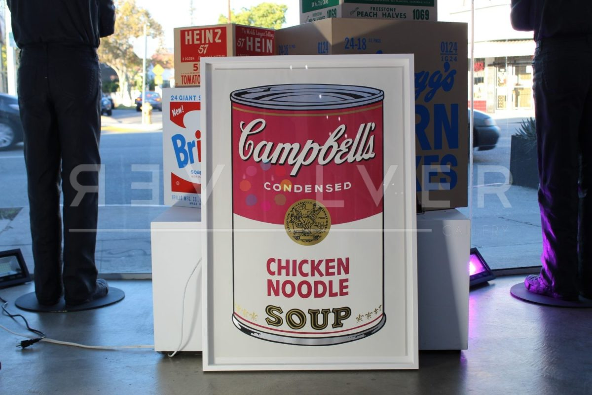 Andy Warhol Campbell's Soup I: Chicken Noodle 45 framed and sitting on the ground at Revolver Gallery.