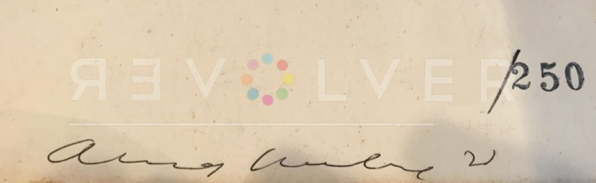 Andy Warhol's signature on the back of Flowers 67.