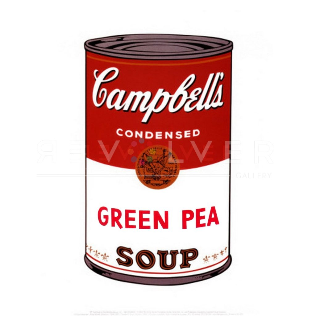 Andy Warhol Campbell's Soup I: Green Pea stock image with Revolver gallery watermark.