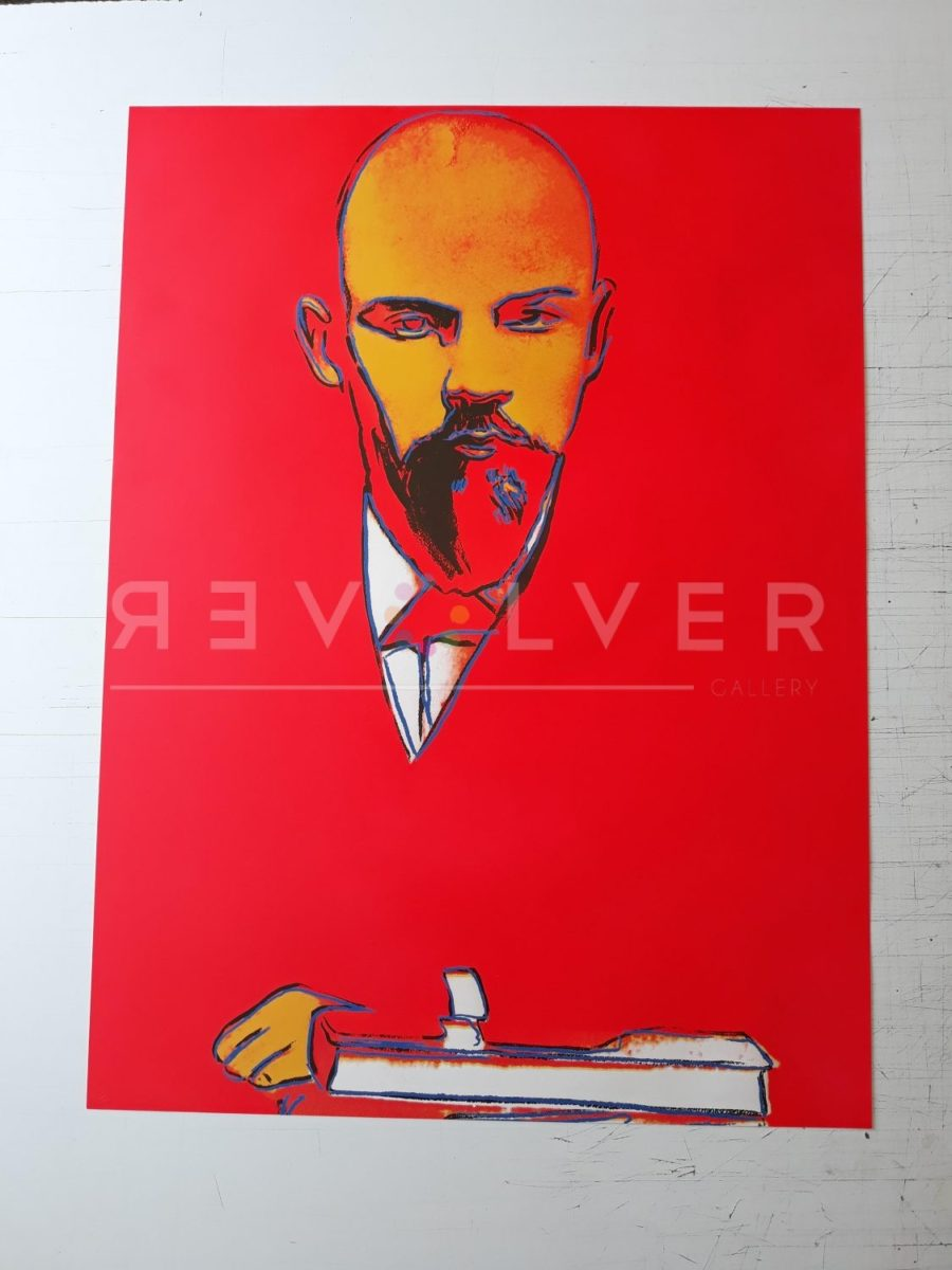 Andy Warhol Red Lenin 403 screenprint out of frame.