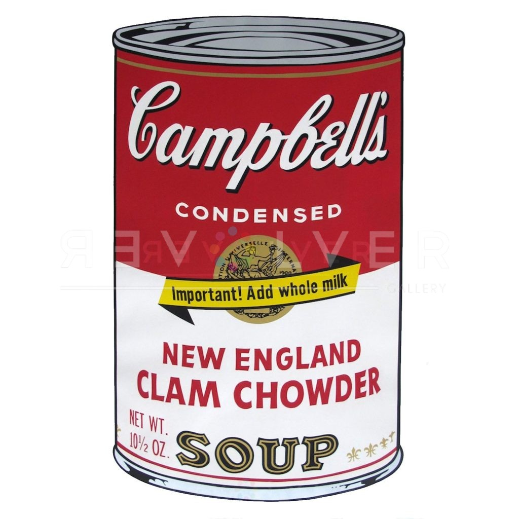 """One of Ten Campbell's Soup Cans by Andy Warhol from 1969. Red and white can labeled New England Clam Chowder with a banner reading """"Important! Add whole milk"""" ontop of Campbell's golden seal."""