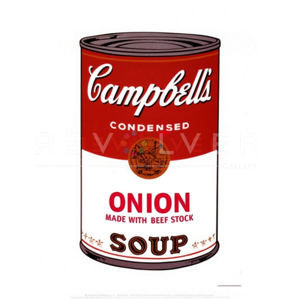 """One of Ten Campbell's Soup Cans by Andy Warhol from 1968. Red and white Campbell's can labeled """"Onion. Made with Beef Stock."""""""