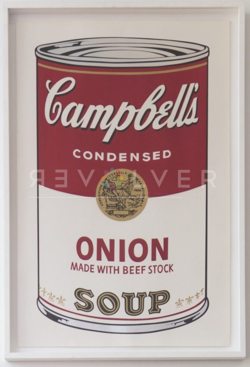 Andy Warhol Campbell's Soup: I Onion 47 screenprint in frame.