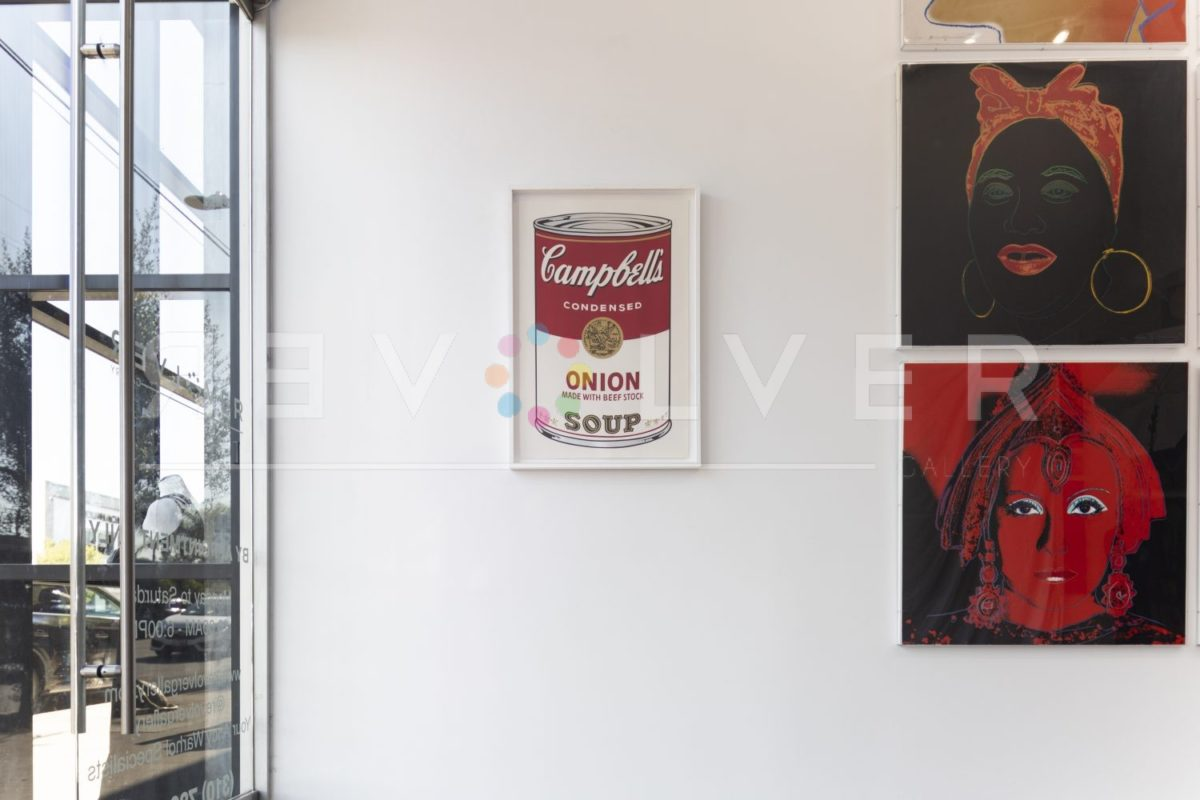 Campbell's Soup I: Onion 47 screenprint by Andy Warhol framed and hanging on the gallery wall.