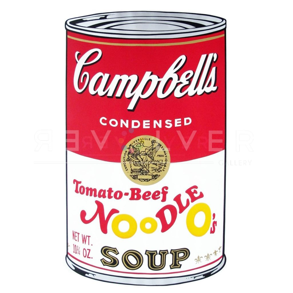 """One of Ten Campbell's Soup Cans by Andy Warhol from 1969. Red and white can labeled Tomato-Beef Noodle O's Soup."""""""