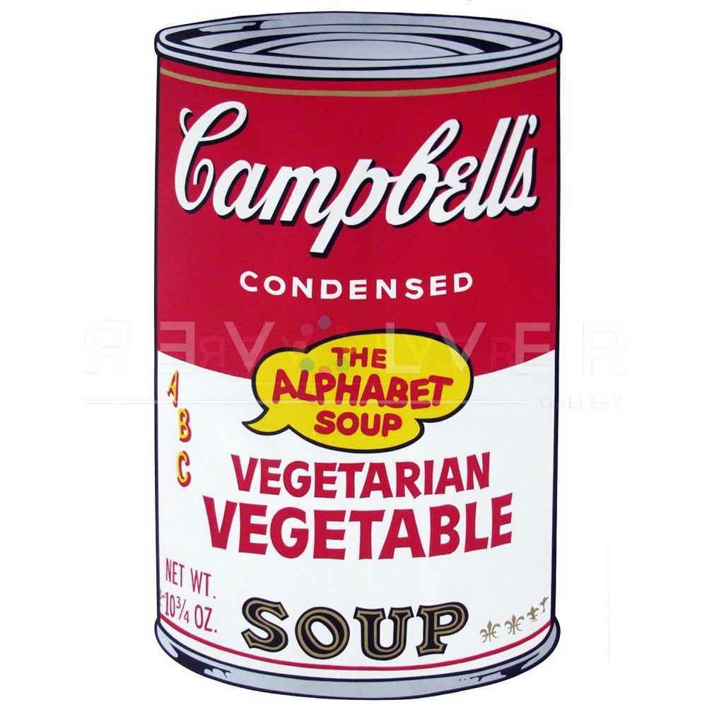 """One of Ten Campbell's Soup Cans by Andy Warhol from 1969. Red and white can labeled Vegetarian Vegetable with """"the Alphabet Soup"""" in a though bubble ontop of the golden seal."""
