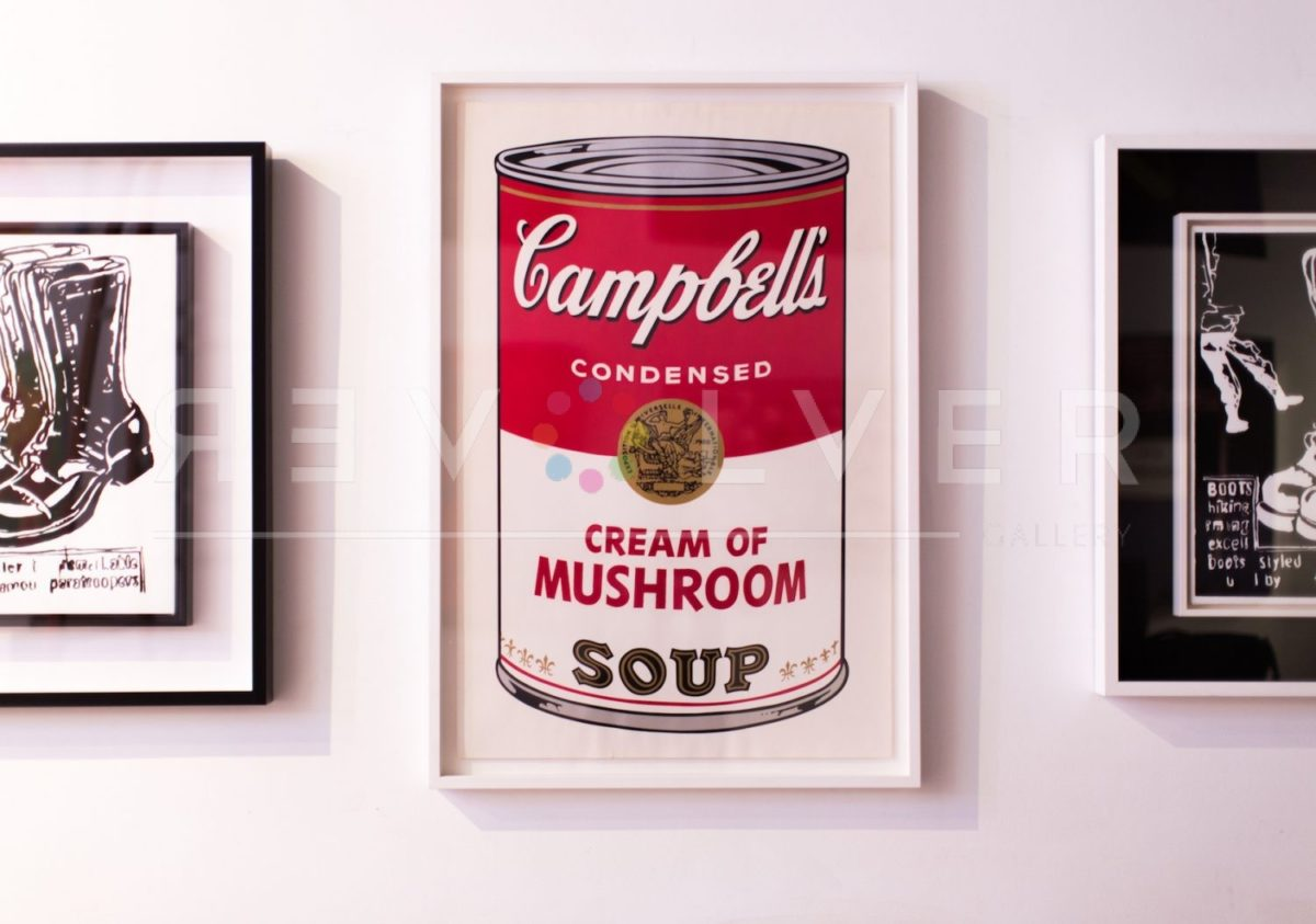 Andy Warhol Campbell's Soup I: Cream of Mushroom 53 framed and hanging on the gallery wall.