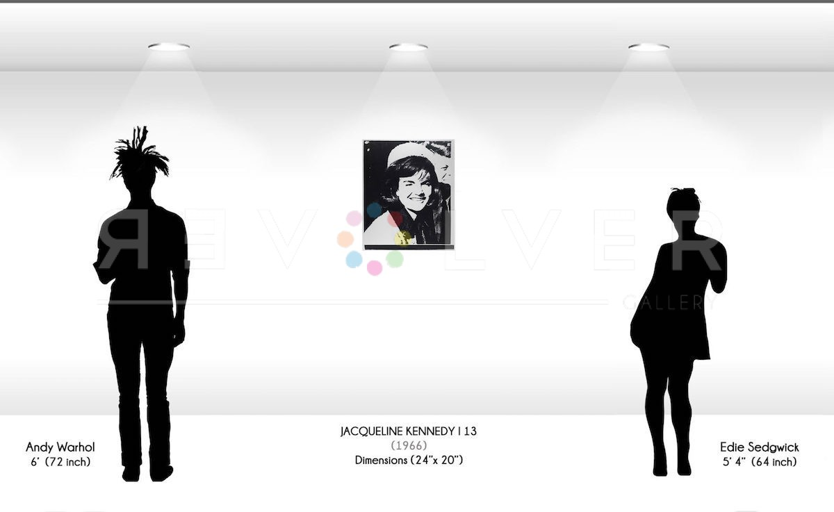size comparison image for the Jackie Kennedy 13 screenprint by Andy Warhol