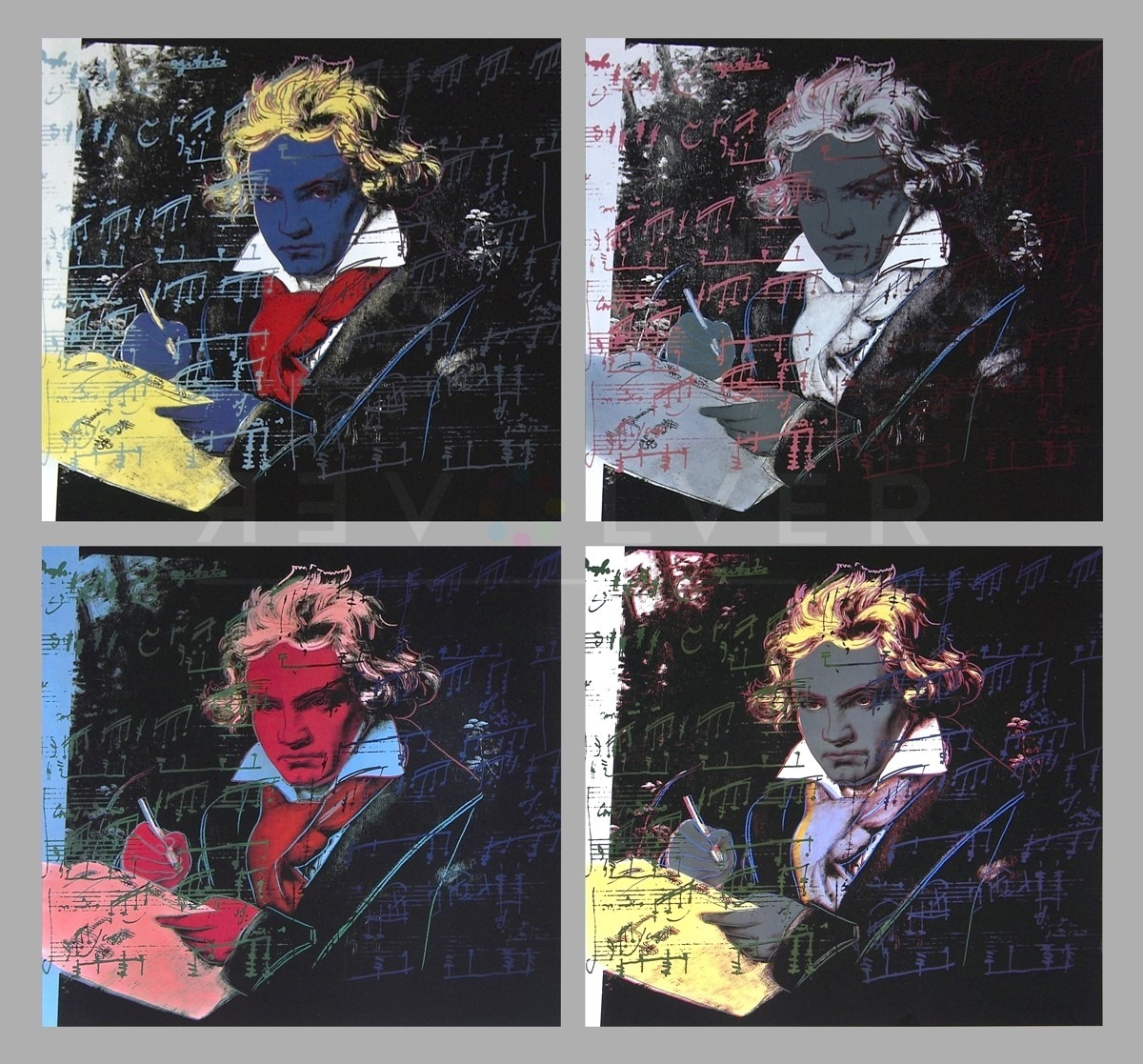 Andy Warhol Beethoven portfolio. 4 prints in a grid structure.