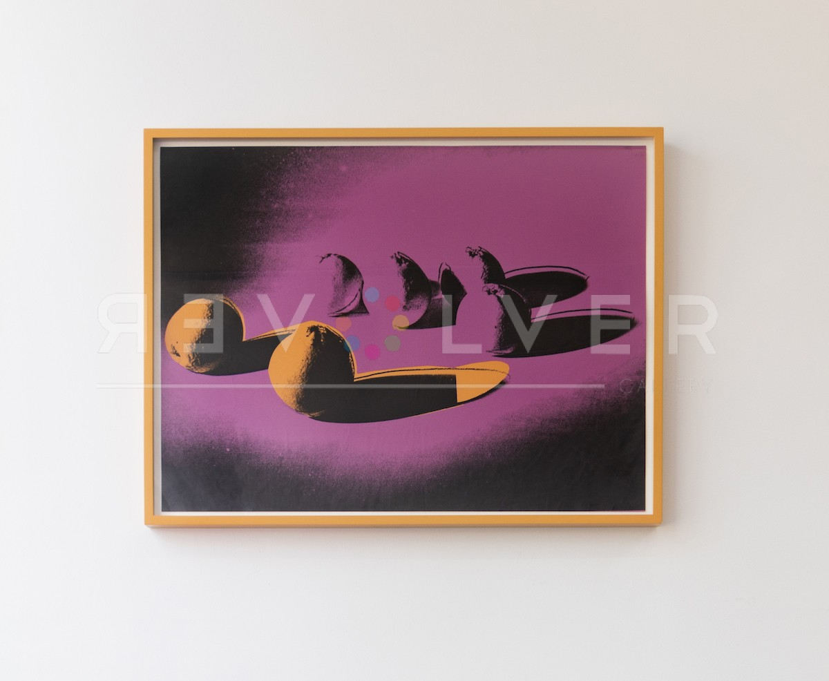 Andy Warhol Space Fruit: Oranges 197 (Unique) screenprint hanging on the gallery wall in frame.