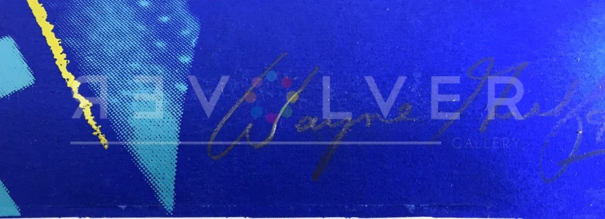 Wayne Gretzky's signature at the bottom of Wayne Gretzky 306 by Andy Warhol.